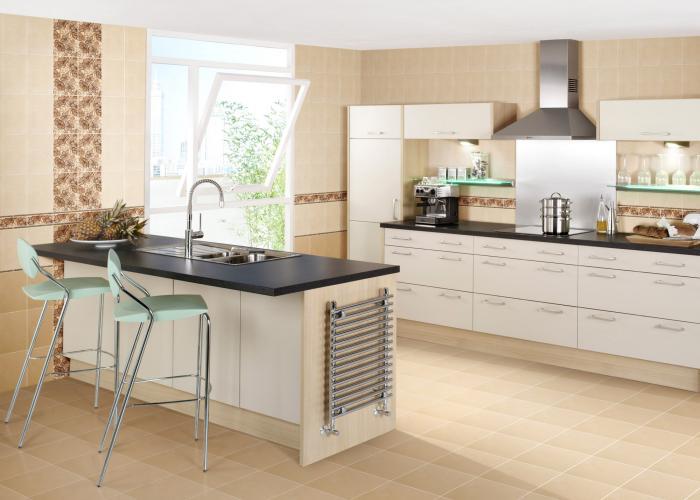 дизайн кухни в бежевом цвете фото
